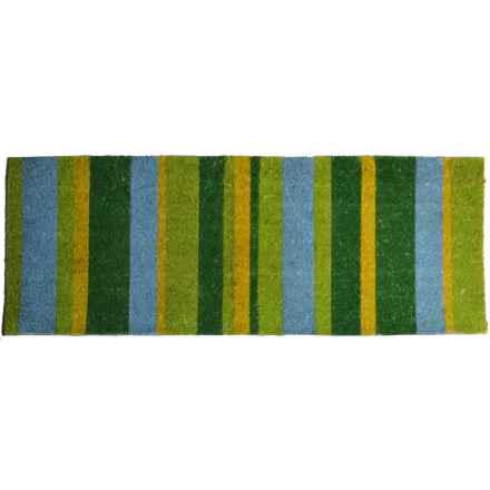 "Imports Decor Vinyl-Backed Long Coir Doormat - 18x48"" in Green Stripes - Closeouts"