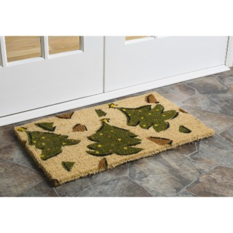 "Imports Unlimited Christmas Entry Mat - 18x30"", Coir in Whimsy Xmas Trees"