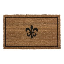 "Imports Unlimited Fleur-De-Lis Entry Mat - Coir, 18x30"" in Black/Natural - Closeouts"