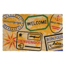 "Imports Unlimited Passport Stamps Entry Mat - Coir, 18x30"" in Multi - Closeouts"