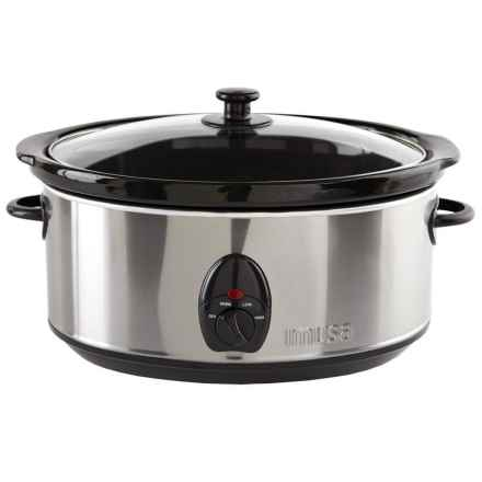 Imusa Slow Cooker - 3.7 qt., Stainless Steel in Black/Stainless Steel - Overstock