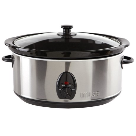 Imusa Slow Cooker - 3.7 qt., Stainless Steel in Black/Stainless Steel