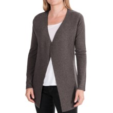 In Cashmere Cardigan Sweater - Rib-Knit Back Detail (For Women) in Charcoal Heather - Closeouts