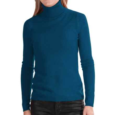 In Cashmere Cashmere Turtleneck - Long Sleeve (For Women) in Teal - Closeouts