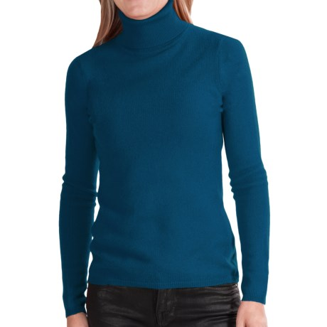 In Cashmere Cashmere Turtleneck - Long Sleeve (For Women) in Teal