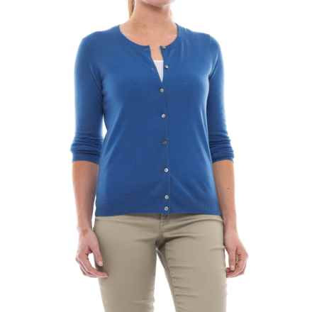 In Cashmere Classic Button-Up Cardigan Sweater - Cashmere (For Women) in Bluebell - Closeouts