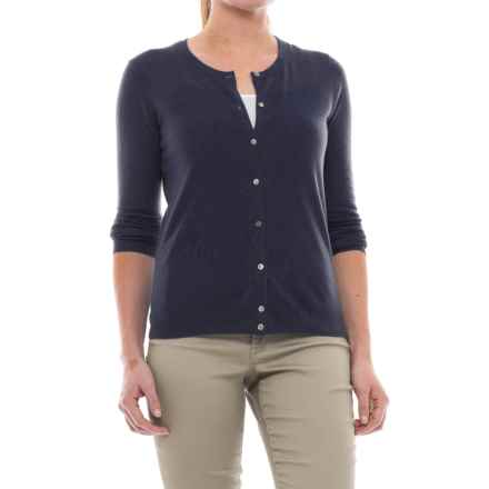 In Cashmere Classic Button-Up Cardigan Sweater - Cashmere (For Women) in Navy - Closeouts