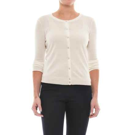 In Cashmere Classic Button-Up Cardigan Sweater - Cashmere (For Women) in Whisper White - Closeouts