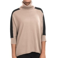 In Cashmere Color-Block Cashmere Turtleneck Sweater - 3/4 Sleeve (For Women) in Oatmeal/Black - Closeouts