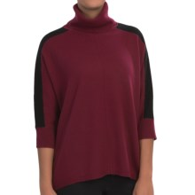In Cashmere Color-Block Cashmere Turtleneck Sweater - 3/4 Sleeve (For Women) in Wine/Black - Closeouts