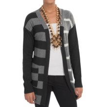 In Cashmere Color-Block Stripe Cashmere Cardigan Sweater (For Women) in Black/Charcoal/Fog - Closeouts
