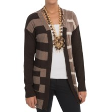 In Cashmere Color-Block Stripe Cashmere Cardigan Sweater (For Women) in Espresso/Caramal/Oatmeal - Closeouts