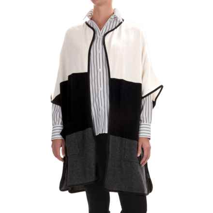 In Cashmere Color-Blocked Poncho - Merino Wool-Cashmere (For Women) in White/Black Combo - Closeouts
