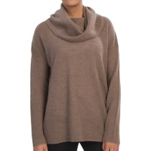 In Cashmere Cowl Neck Cashmere Tunic Shirt - Long Sleeve (For Women) in Caramel Heather - Closeouts