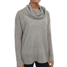 In Cashmere Cowl Neck Cashmere Tunic Shirt - Long Sleeve (For Women) in Fog Heather - Closeouts