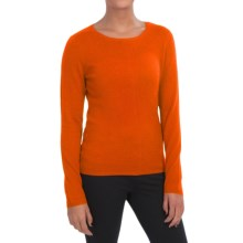 In Cashmere Crew Neck Shirt - Long Sleeve (For Women) in Poppy Orange - Closeouts