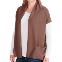 In Cashmere Double-Layered Open Vest (For Women) in Camel - Closeouts