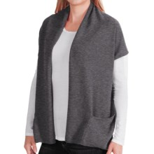 In Cashmere Double-Layered Open Vest (For Women) in Charcoal Heather - Closeouts