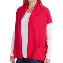 In Cashmere Double-Layered Open Vest (For Women) in Crimson Red - Closeouts