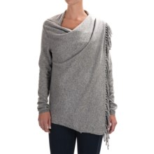 In Cashmere Fringed Cashmere Cardigan Sweater (For Women) in Mid Heather Grey - Closeouts