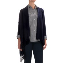 In Cashmere Fringed Cashmere Cardigan Sweater (For Women) in Navy - Closeouts