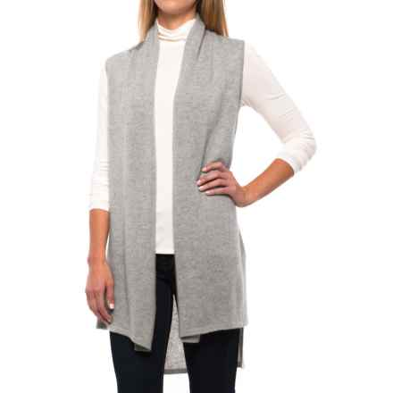 In Cashmere High-Low Vest - Cashmere, Open Front (For Women) in Heather Fog - Closeouts