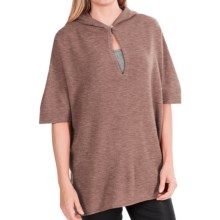 In Cashmere Hooded Poncho (For Women) in Caramel Heather - Closeouts