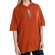 In Cashmere Hooded Poncho (For Women) in Paprika - Closeouts