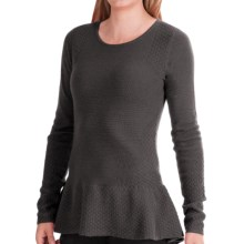 In Cashmere Novelty Stitch Peplum Sweater (For Women) in Charcoal Heather - Closeouts