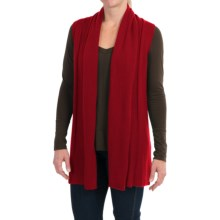 In Cashmere Open Front Cashmere Vest (For Women) in Crimson Red - Closeouts