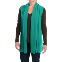 In Cashmere Open Front Cashmere Vest (For Women) in Emerald Shine - Closeouts
