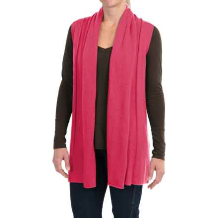 In Cashmere Open Front Cashmere Vest (For Women) in Flamingo Pink - Closeouts