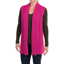 In Cashmere Open Front Cashmere Vest (For Women) in Fuchsia - Closeouts