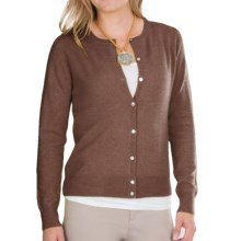 In Cashmere Pointelle Cardigan Sweater (For Women) in Caramel Heather - Closeouts