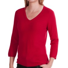 In Cashmere V-Neck Cashmere Sweater - 3/4 Sleeve (For Women) in Crimson Red - Closeouts