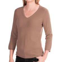 In Cashmere V-Neck Cashmere Sweater - 3/4 Sleeve (For Women) in Heather Taupe - Closeouts