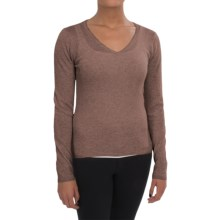 In Cashmere V-Neck Sweater (For Women) in Caramel Heather - Closeouts