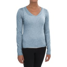 In Cashmere V-Neck Sweater (For Women) in Heather Blue - Closeouts