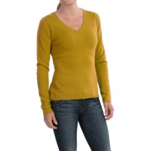 In Cashmere V-Neck Sweater (For Women) in Mustard - Closeouts