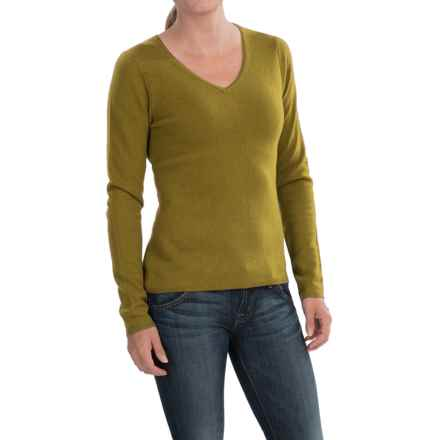In Cashmere V-Neck Sweater (For Women) in Olive - Closeouts