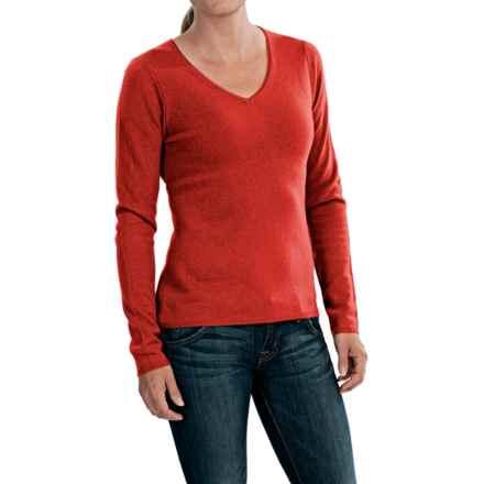In Cashmere V-Neck Sweater (For Women) in Orange - Closeouts