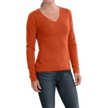 In Cashmere V-Neck Sweater (For Women) in Poppy Orange - Closeouts