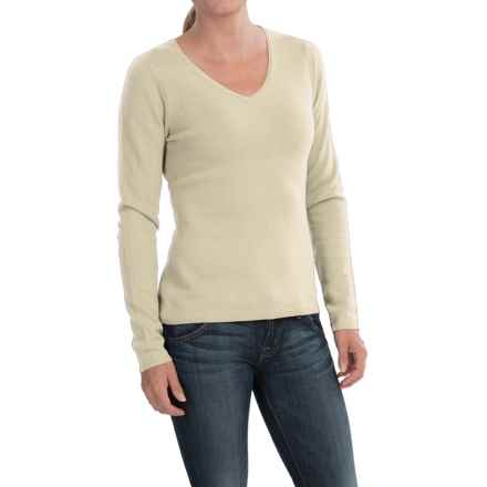 In Cashmere V-Neck Sweater (For Women) in Whisper White - Closeouts