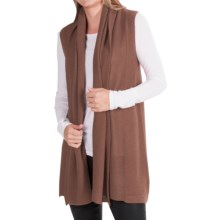 In Cashmere Vest - Open-Stitch Lapel (For Women) in Caramel Heather - Closeouts