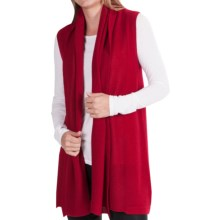 In Cashmere Vest - Open-Stitch Lapel (For Women) in Cranberry - Closeouts