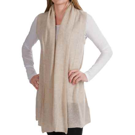 In Cashmere Vest - Open-Stitch Lapel (For Women) in Oatmeal Heather - Closeouts