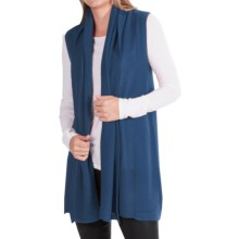 In Cashmere Vest - Open-Stitch Lapel (For Women) in Teal - Closeouts