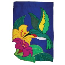 "In the Breeze House Banner Flag - 28x40"" in Hummingbird/Flower - Closeouts"