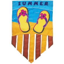 "In the Breeze House Banner Flag - 28x40"" in Summer Flip Flop - Closeouts"