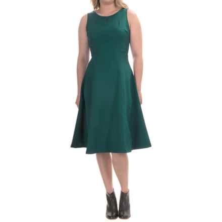 Ina Flared Scuba Dress - Sleeveless (For Women) in Hunter Green - Overstock